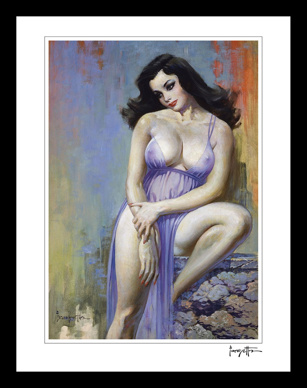 FrazettaGirls Art Print Framed print / Stretched on wooden bar / 18x24 Brooklyn Dreams Print