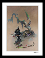 FrazettaGirls Art Print Framed print / Stretched on wooden bar / 18x24 Death Dealer IV Print