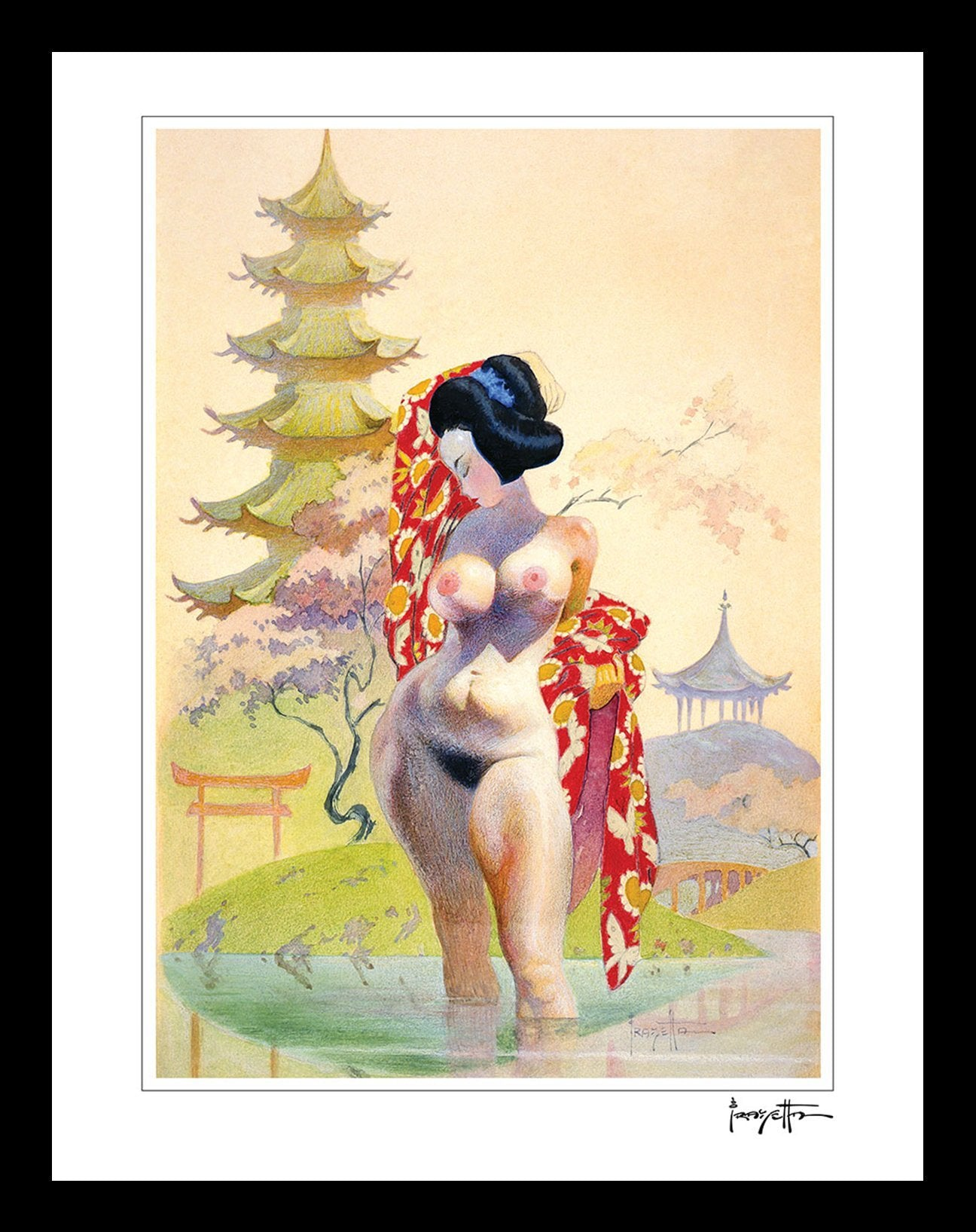 FrazettaGirls Art Print Framed print / Stretched on wooden bar / 18x24 Geisha Print