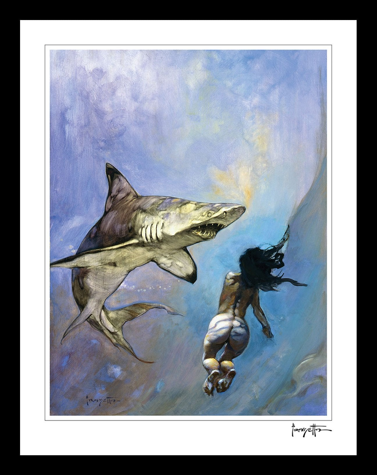 FrazettaGirls Art Print Framed print / Stretched on wooden bar / 18x24 Requiem for a Shark Print