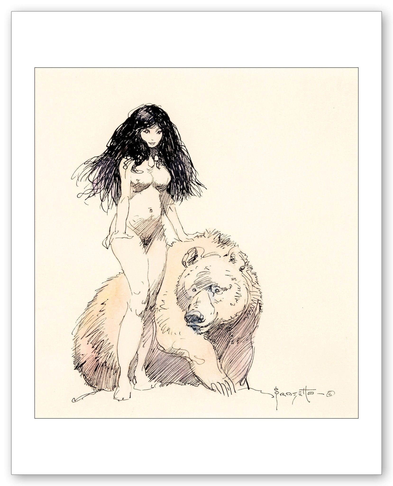 FrazettaGirls Fine art print / 8.5x11 Female Nude with Bear Print