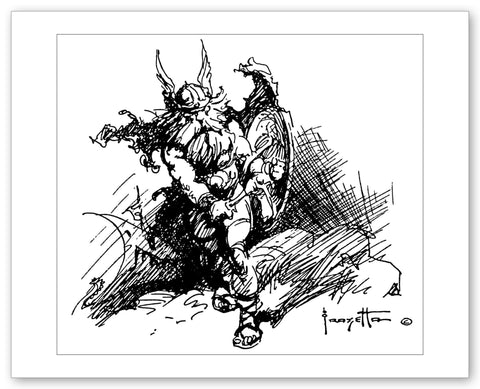 Frank Frazetta 'Demon Monster' - 11x14- Framed Print