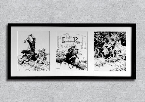 Frazetta's Trio 'Lord of The Rings' Framed Art Print- 32x14