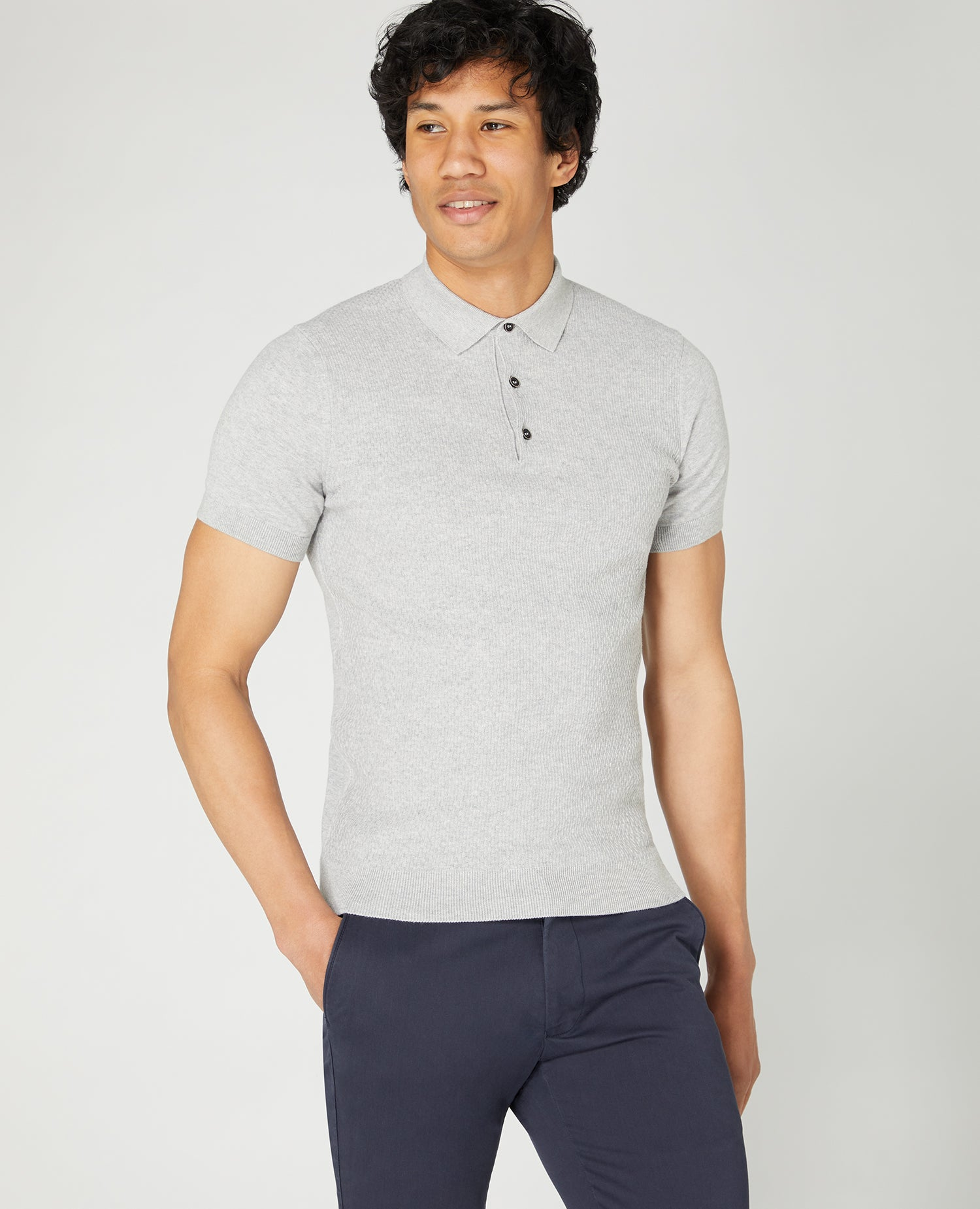 Slim Fit Knitted Cotton SS Polo Shirt Grey | Remus Uomo