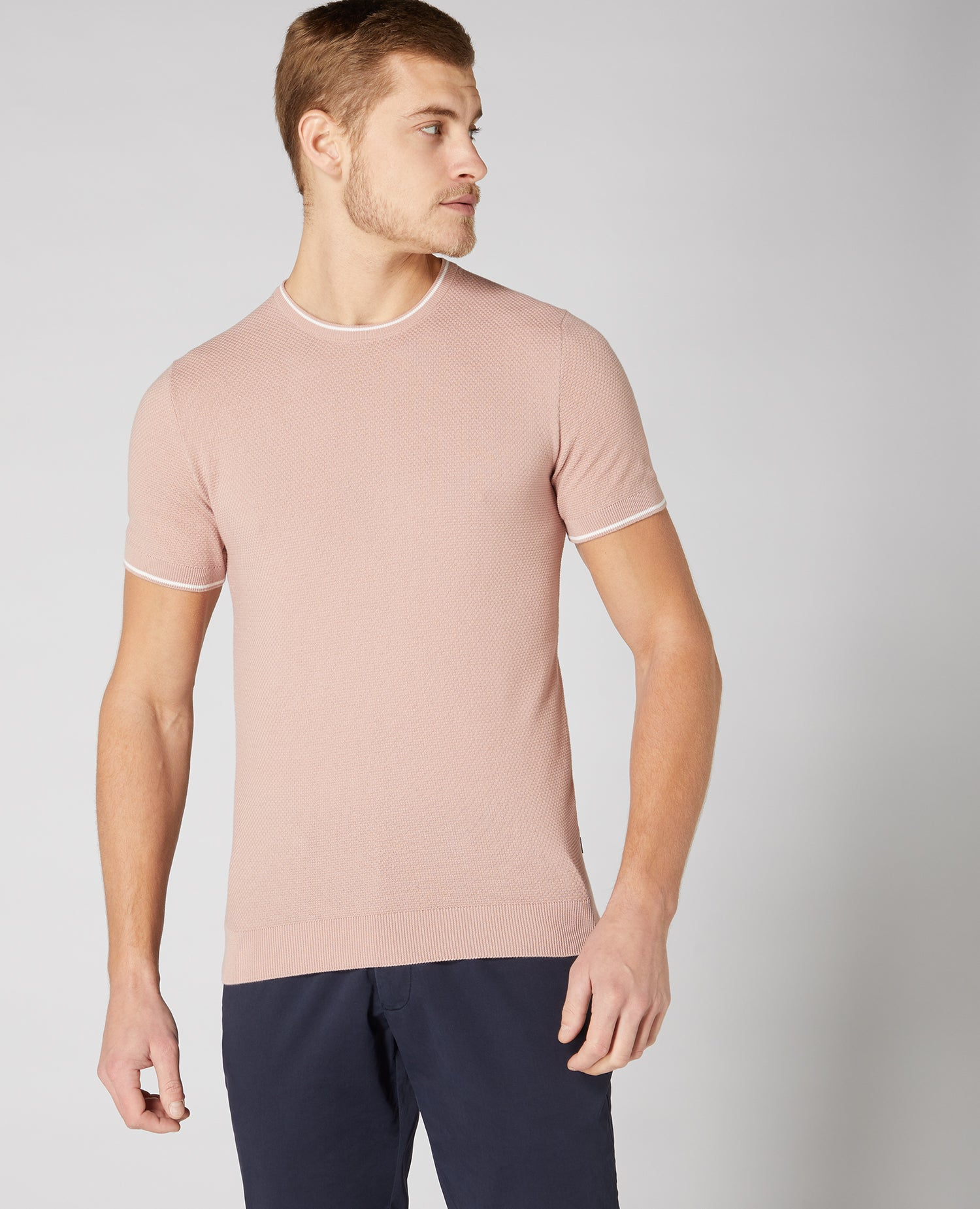 Slim Fit Knitted Cotton T-Shirt Pink | Remus Uomo