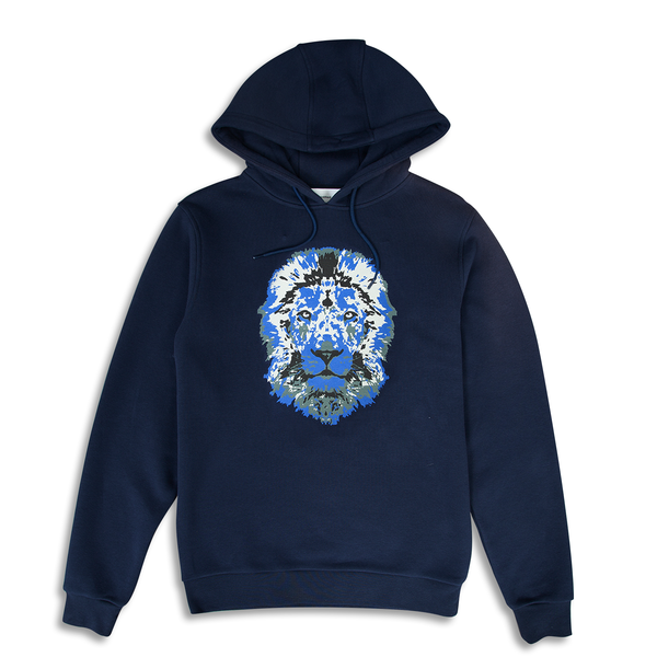 Lion Printed Navy Hoodie | Untitled Atelier