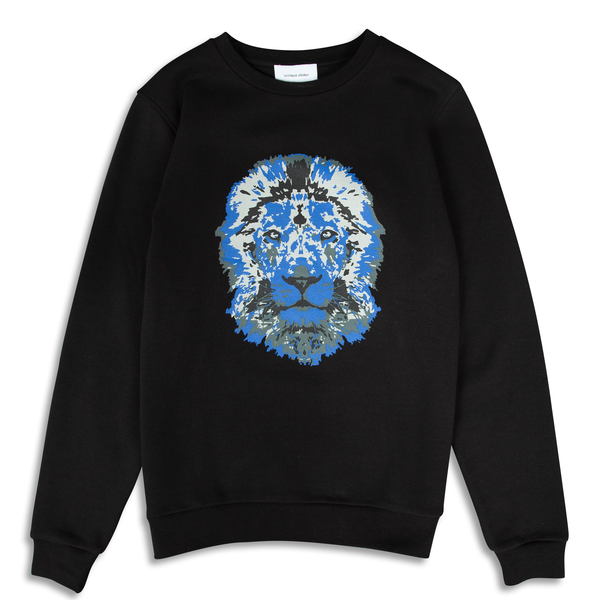 Lion Printed Black Sweatshirt | Untitled Atelier