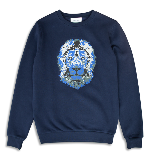 Lion Printed Navy Sweatshirt | Untitled Atelier