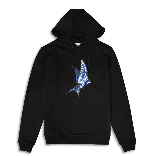 Swallow Printed Black Hoodie | Untitled Atelier