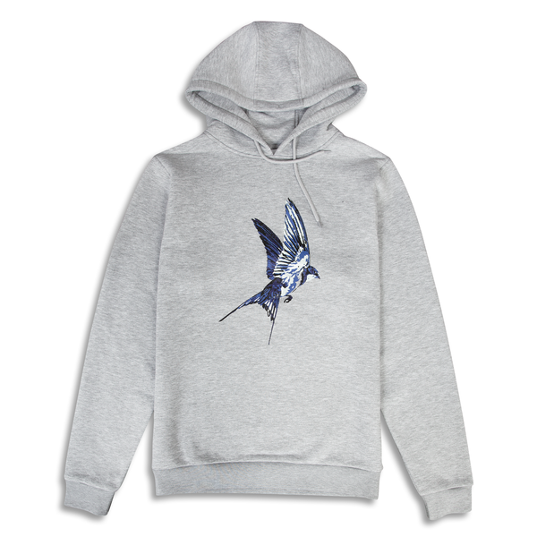 Swallow Printed Grey Hoodie | Untitled Atelier