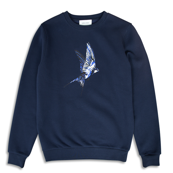 Swallow Printed Navy Sweatshirt | Untitled Atelier