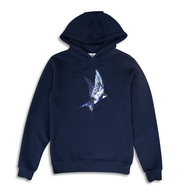 Swallow Printed Navy Hoodie | Untitled Atelier