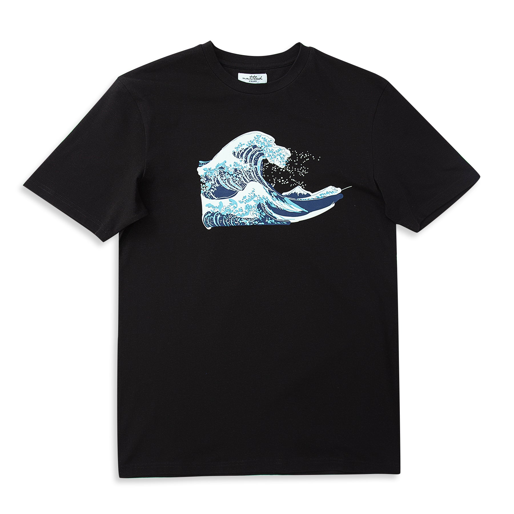 Abstract Wave Printed Black T-Shirt | Untitled Atelier