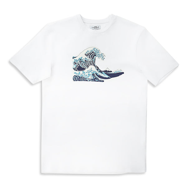 Abstract Wave Printed White T-Shirt | Untitled Atelier