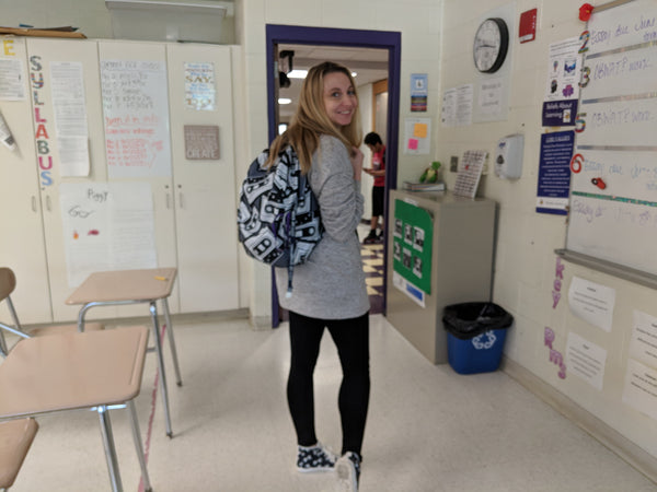 Dani rocking her Easy Baby Travelers gear at school!