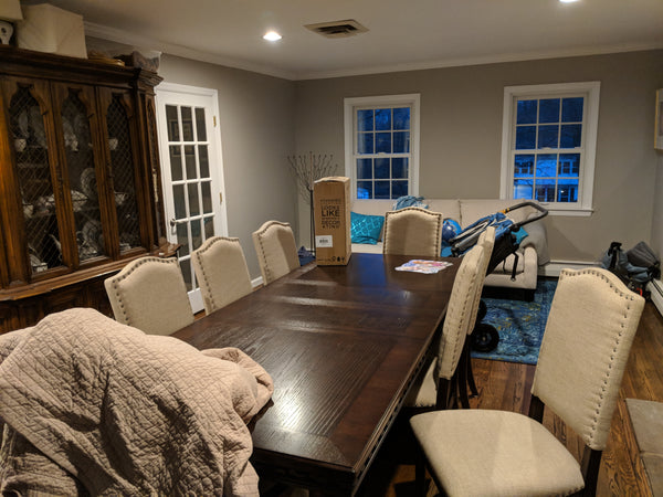 The Easy Baby Travelers dining room was underutilized... so we decided to convert it into our in-home office!