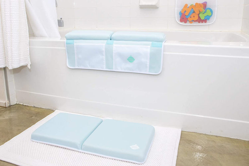 EZ 2-in-1 Baby Bath Kneeler and Elbow Rest Pad with Bath Toys - Non-Toxic, Foldable, Washable, Safe, Fun and Comfortable Bath Time
