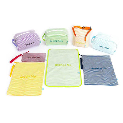 Easy Baby Travelers Diaper Bag Organizer Pouches Seersucker Style Complete Set of 8 - Diaper Bag Organizer Complete Set - Easy Baby Travelers