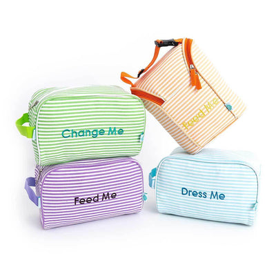 Easy Baby Travelers Seersucker Style Diaper Bag Organizer Pouches Starter Set of 4 - Diaper Bag Organizer Starter Set - Easy Baby Travelers