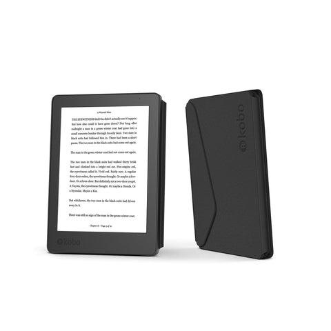 Front and back of Kobo Aura Edition 2 with black SleepCover