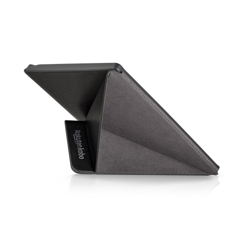 Kobo Forma in landscape with black SleepCover from the back, folded into a stand