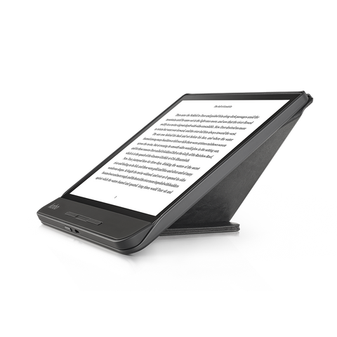 Kobo Forma in landscape with black SleepCover folded into a stand