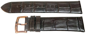 Authentic Armani Watch Strap Brown Calf Leather Crocodile Grain for Armani AR1616 Rose Gold Buckle