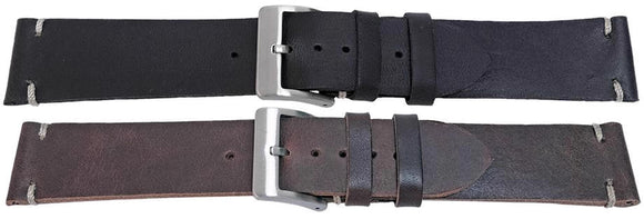 Calf Leather Watch Strap Vintage Look High Quality Black with Stainless Steel Buckle