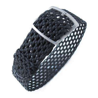 Strapcode Fabric Watch Strap 20mm MiLTAT Perlon Mesh Watch Strap, Black, Sandblasted Ladder Lock Slider Buckle