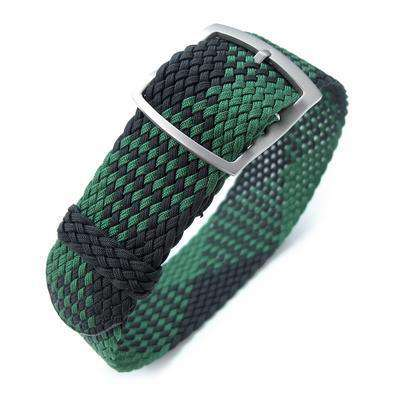 Strapcode Fabric Watch Strap 20mm MiLTAT Perlon Watch Strap, Black & Green, Sandblasted Ladder Lock Slider Buckle