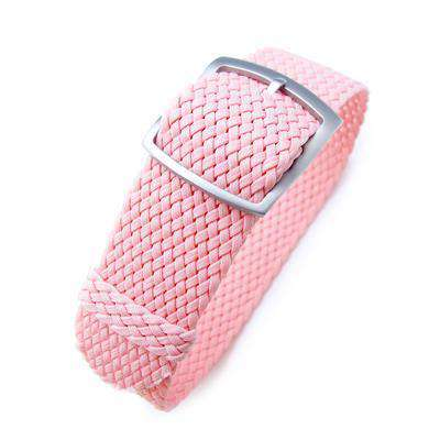 Strapcode Fabric Watch Strap 20mm MiLTAT Perlon Watch Strap, Rosa Pink, Sandblasted Ladder Lock Slider Buckle