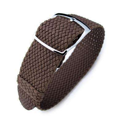 20mm & 22mm MiLTAT Perlon Watch Strap, Brown, Polished Ladder Lock Slider Buckle