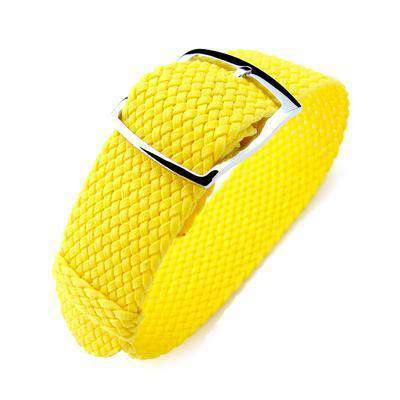 Strapcode Fabric Watch Strap 20mm MiLTAT Perlon Watch Strap, Yellow, Polished Ladder Lock Slider Buckle