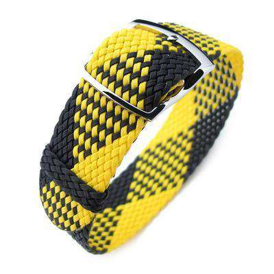 Strapcode Fabric Watch Strap 20mm MiLTAT Perlon Watch Strap, Black & Yellow, Polished Ladder Lock Slider Buckle