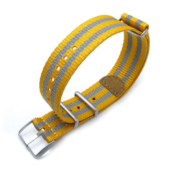 Strapcode N.A.T.O Watch Strap MiLTAT 20mm G10 NATO 3M Glow-in-the-Dark Watch Strap, Brushed - Mustard and Grey Stripes