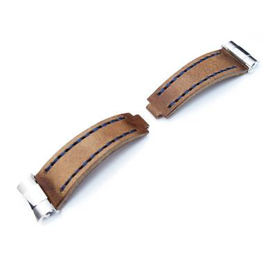 Revenge End Link - Replacement Watch Strap Tailor-made for Rolex, Matte Brown Pull Up Leather, Blue St.