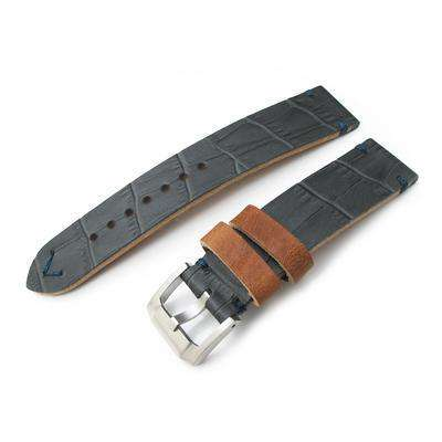Crocodile Grain 20mm MiLTAT Antipode Watch Strap Dark Grey in Lake Blue Hand Stitches