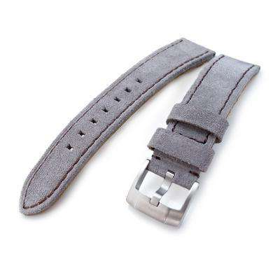 20mm, 21mm MiLTAT Light Grey Nubuck Leather Watch Band, Brown Stitching
