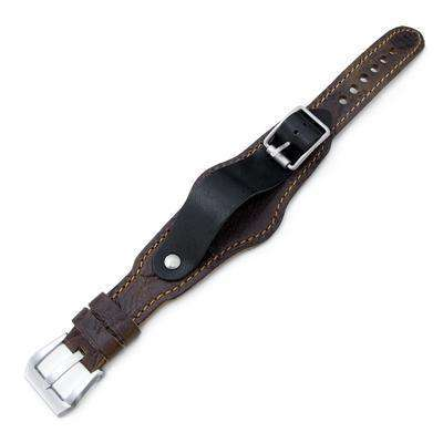 Strapcode Military Watch Strap 20mm Hezzo Bund Military Style Double-layer Watch Strap, Scratch Brown Pattern Leather of Art