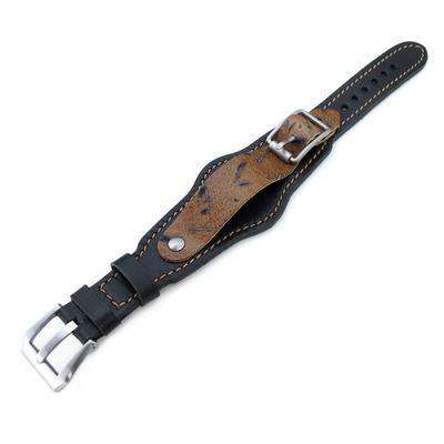 Strapcode Military Watch Strap 20mm Hezzo Bund Military Style Double-layer Watch Strap, Black Italian Leather