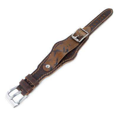 20mm Hezzo Bund Military Style Double-layer Watch Strap, Dark Brown Chesse Holes Brown Leather of Art