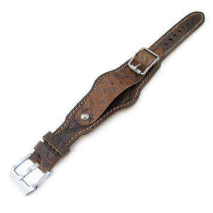 20mm Hezzo Bund Military Style Double-layer Watch Strap, Scratch Brown Leather of Art
