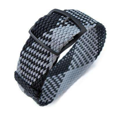 20, 22mm MiLTAT Perlon Watch Strap, Black & Light Grey, PVD Black Ladder Lock Slider Buckle