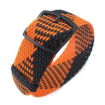 20, 22mm MiLTAT Perlon Watch Strap, Black & Orange, PVD Black Ladder Lock Slider Buckle
