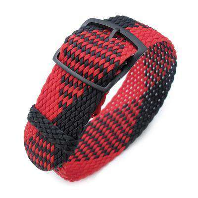 20, 22mm MiLTAT Perlon Watch Strap, Black & Red, PVD Black Ladder Lock Slider Buckle