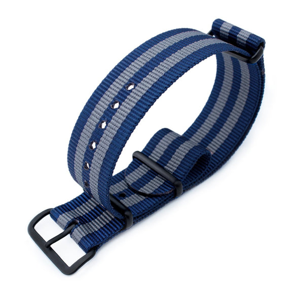 MiLTAT 18mm, 20mm or 21mm G10 military watch strap ballistic nylon armband, PVD Black - Navy & Grey