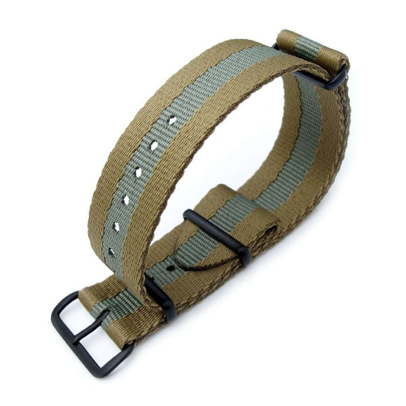 Strapcode N.A.T.O Watch Strap MiLTAT 20mm or 22mm G10 Military NATO Watch Strap, Sandwich Nylon Armband, PVD Black - Military Green