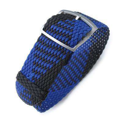20, 22mm MiLTAT Perlon Watch Strap, Black & Blue, Sandblasted Ladder Lock Slider Buckle