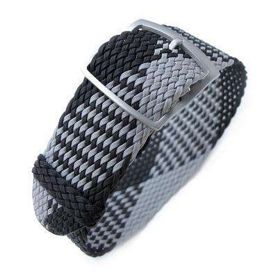 20, 22mm MiLTAT Perlon Watch Strap, Black & Light Grey, Sandblasted Ladder Lock Slider Buckle