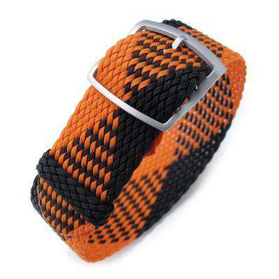 20, 22mm MiLTAT Perlon Watch Strap, Black & Orange, Sandblasted Ladder Lock Slider Buckle